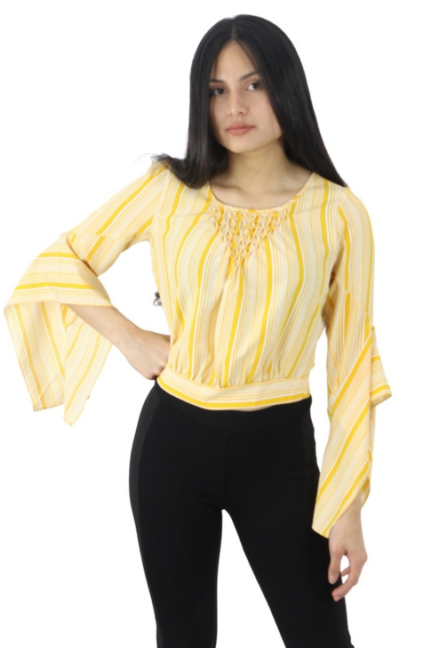 Yellow Decoratad Neck Button Back Blouse with Hanging Sleeve 6pcs