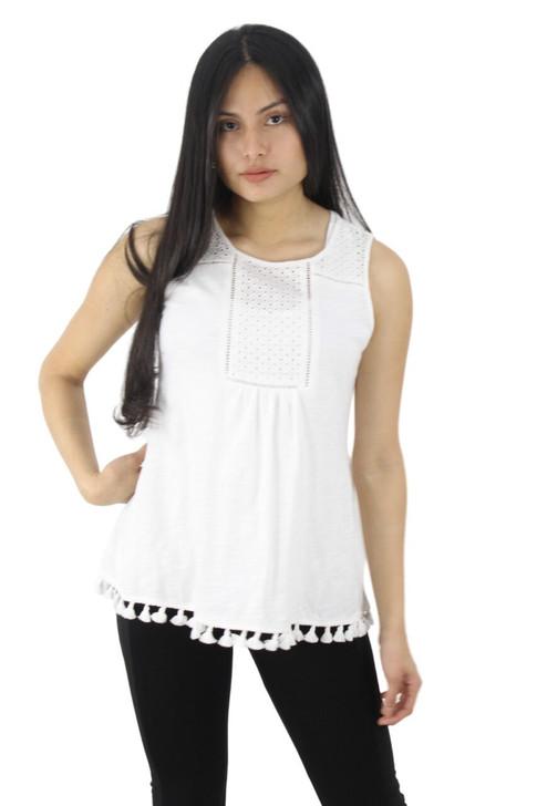 White Cotton Semi Transparent Blouse with Extra Decor 6pcs