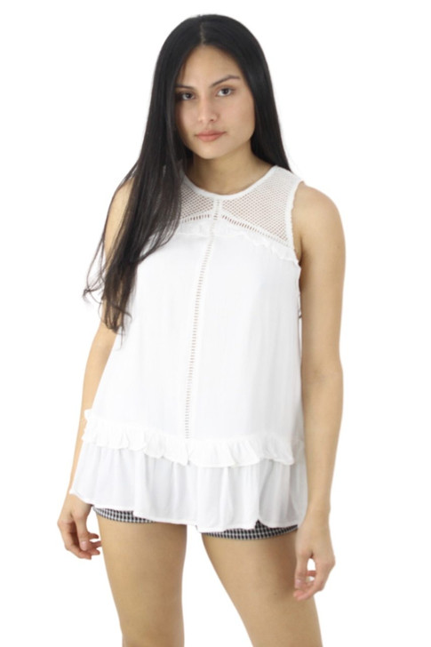 Viscose Semi Transparent Blouse with Extra Lace Decor 6pcs