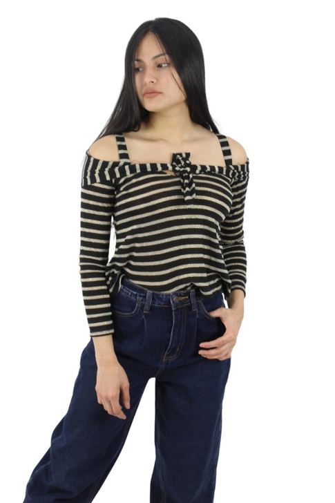 Black Off-Shoulder Striped Top with Tie Front 6pcs