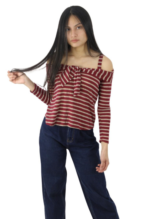 Red Off-Shoulder Striped Top with Tie Front 6pcs