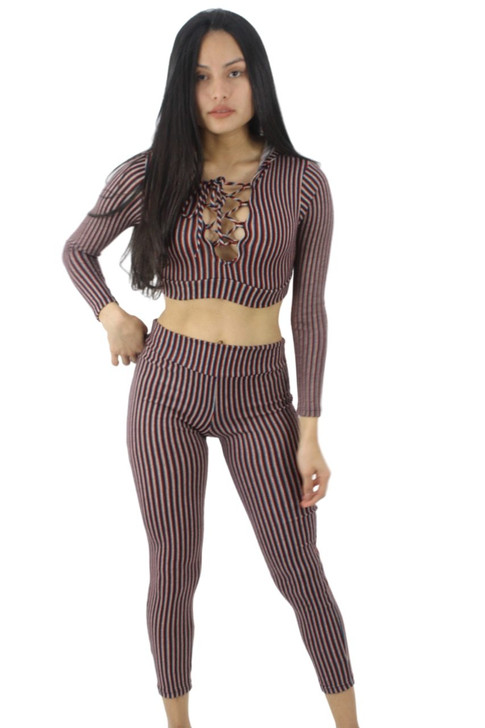 Red Lacing Hoodie Crop Top and Tight-Fitting Leggings, Sexy Matching Two-Piece Outfit Set 6pcs