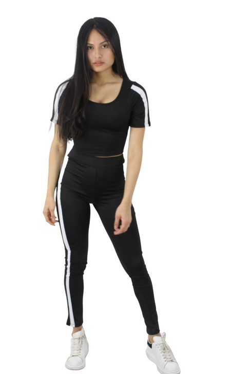 Black Soft Double Line Matching Two-Piece Outfit Top and Pant Set 6pcs