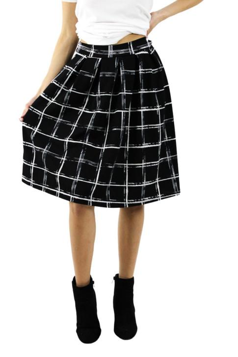 Midi Plaid Black Skirt with White Lines 6pcs