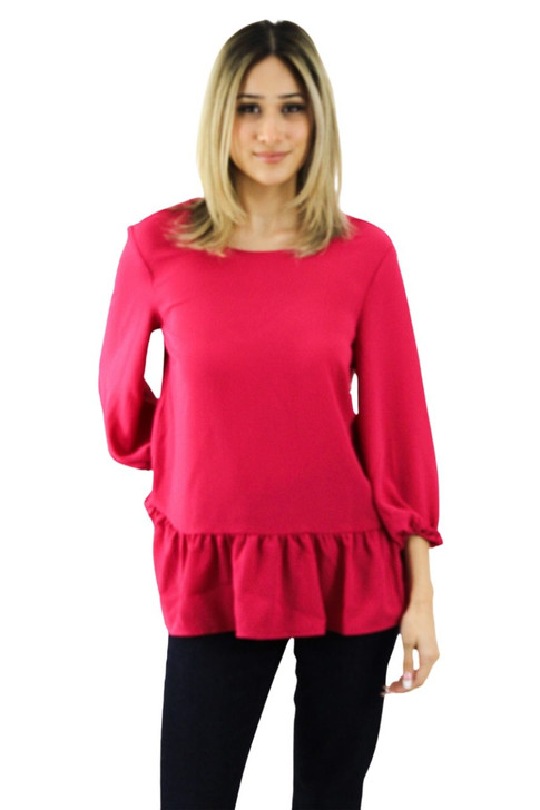 Fuchsia Open Back Blouse 8pcs