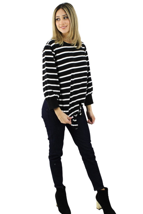 White Stripes Light Sweatshirt with 3/4 Sleeve and Tie 8pcs