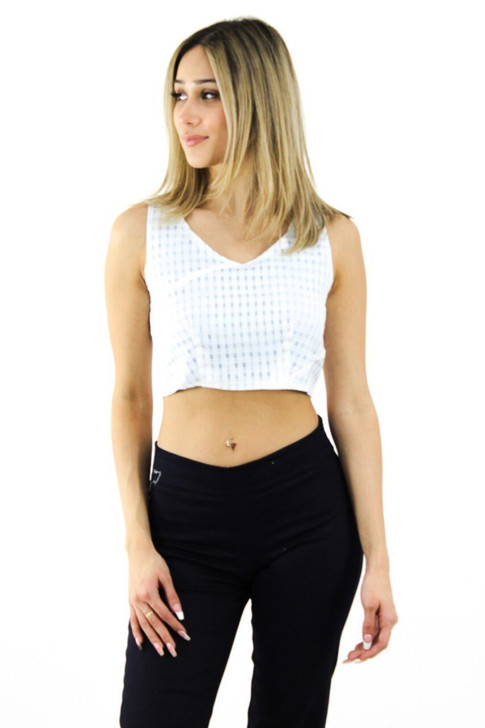 Blue and White Patterned Crop Top 6pcs