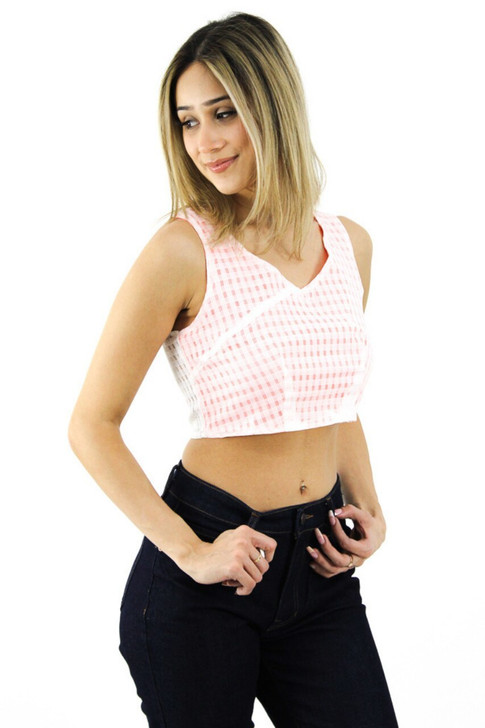 Coral and White Patterned Crop Top 6pcs