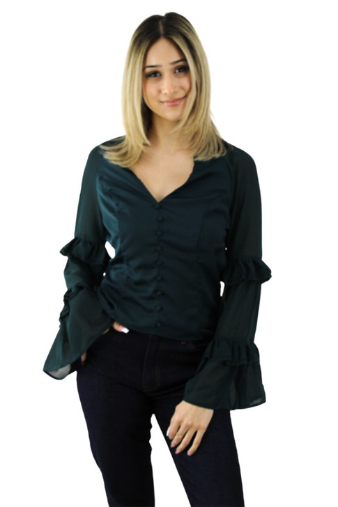 Dark Green Blouse with Layered Ruffle Long Sleeve 6pcs