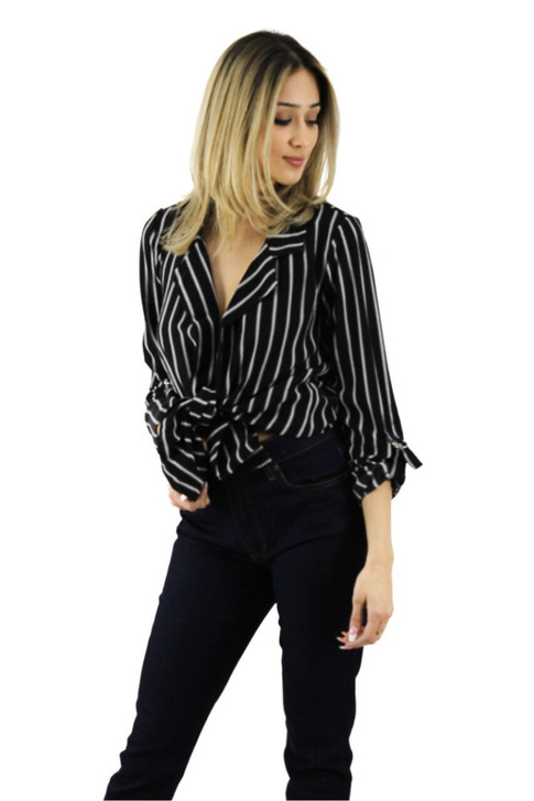 Black and White Striped Shirt with Waist Tie 6pcs