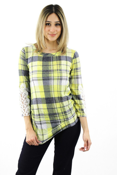 Yellow Plaid Blouse with Long Lace Sleeve 6pcs