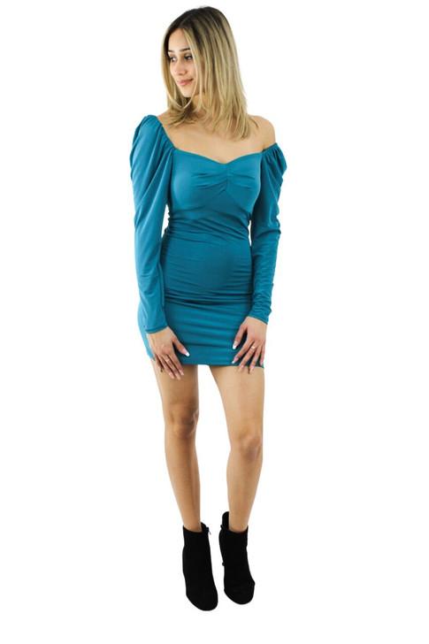 Ocean Off Shoulder Bodycon Mini Dress 6pcs