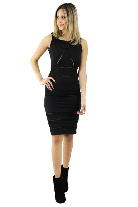 Geometric Sleeveless Bodycon Midi Dress 6pcs
