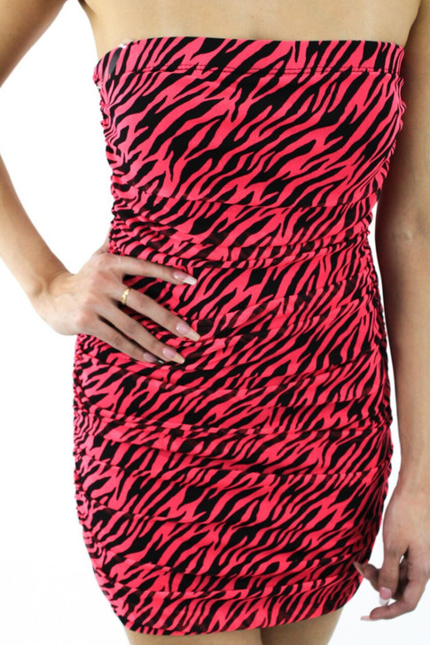 Strapless Sexy Red Striped Mini Dress 6pcs