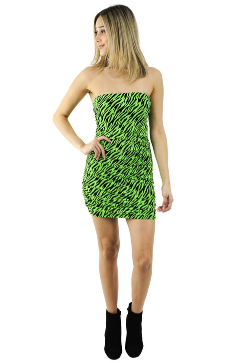 Strapless Sexy Green Striped Mini Dress 6pcs