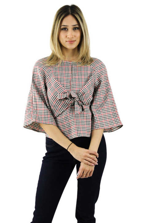 Tie Blouse with Bell Sleeve 6pcs