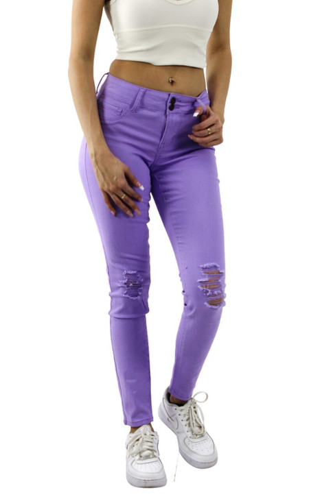 Lilac Skinny Ripped High Waisted Jeans 12pcs