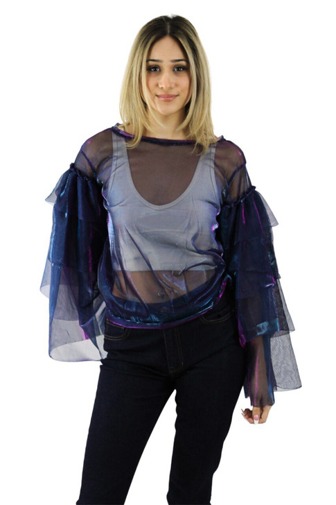 Blue/Violet Lace Organza Sexy Top with Layered Ruffle Sleeve 6pcs
