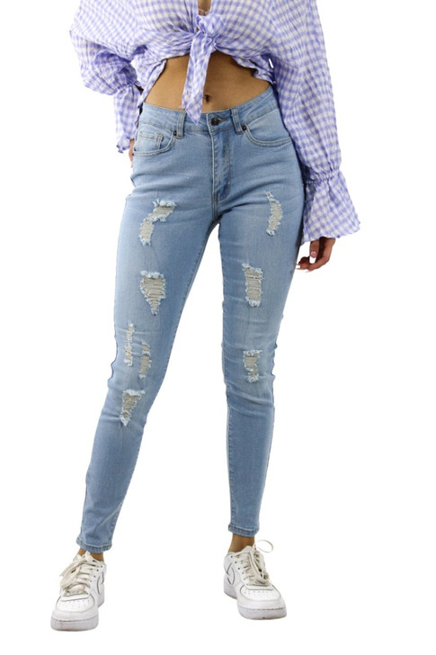 Ripped Skinny High Waisted Jeans #3 Light Blue 12pcs