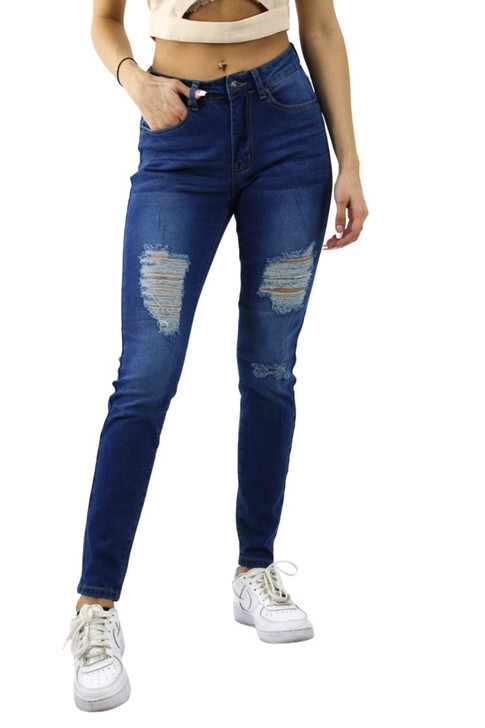 Ripped Skinny High Waisted Jeans #4 Medium Blue 12pcs
