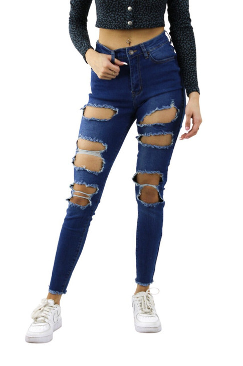 Ripped Skinny High Waisted Jeans #2 Medium Blue 12pcs