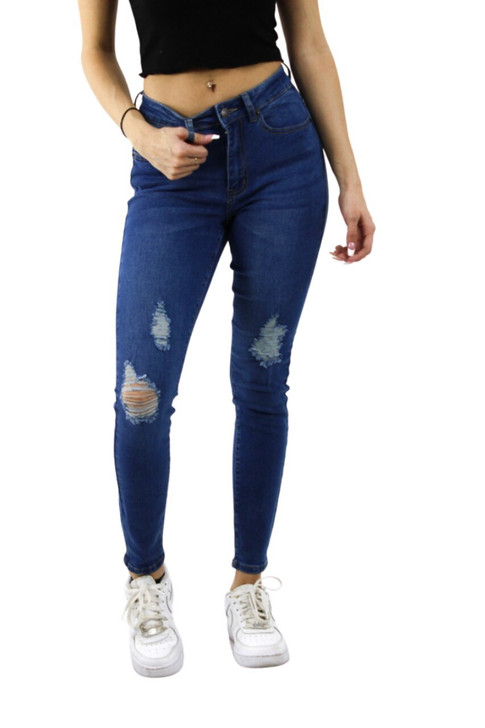Ripped Skinny High Waisted Jeans #7 Medium Blue 12pcs