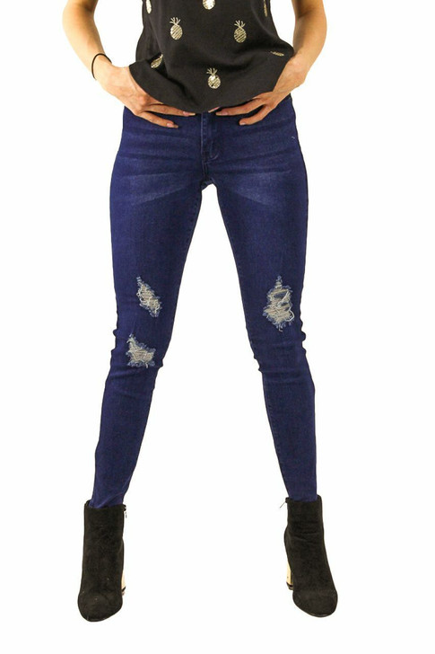 Ripped Skinny High Waisted Jeans #7 Indigo 12pcs