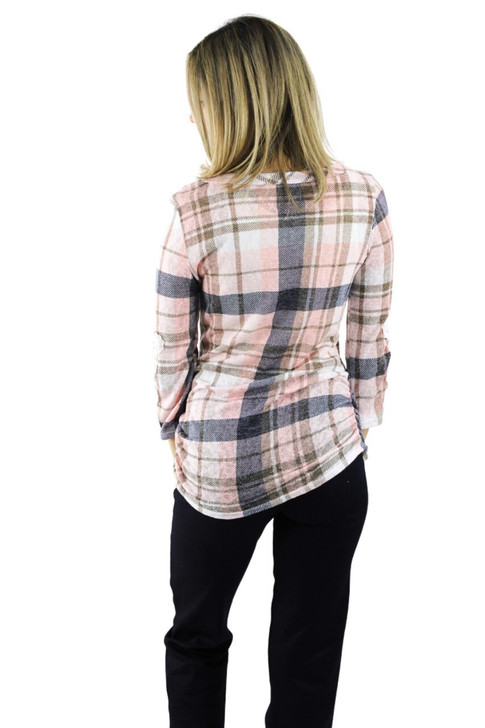 Pink Plaid Blouse with Long Lace Sleeve 6pcs