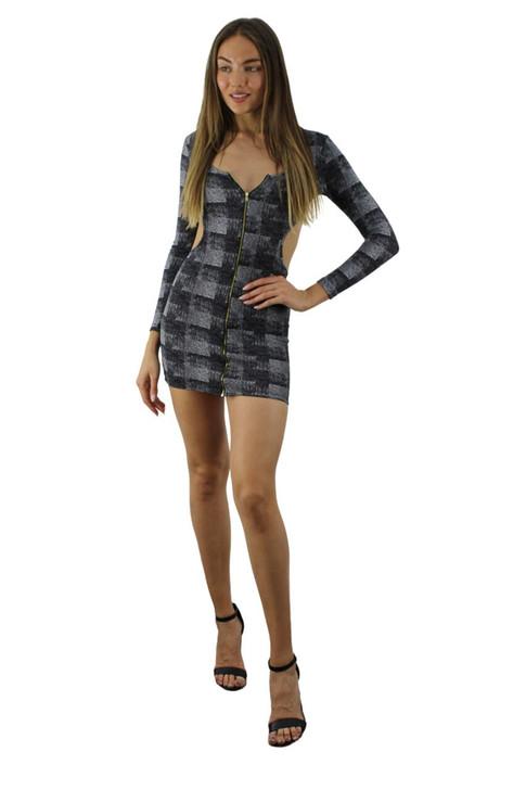 Checkered Mini Long Sleeve Dress 6pcs