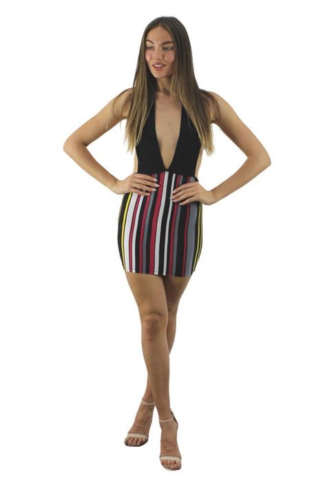Open Back Black Mini Dress 6pcs