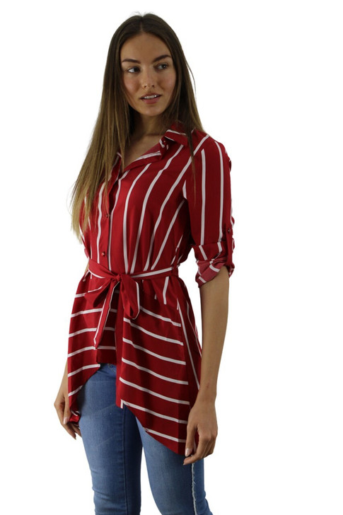 Red Stripped Long Back Collar Blouse 6pcs