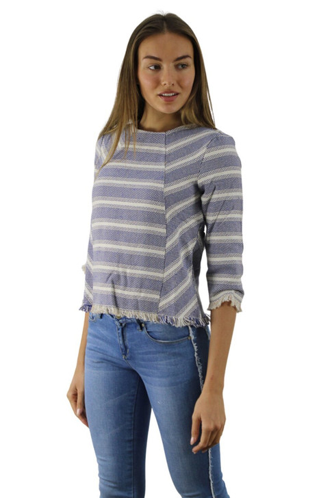 Blue Stripped Knitted Long Sleeve 6pcs