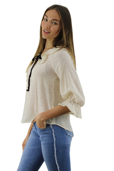 Beige Ruffled Blouse with Tie 6pcs