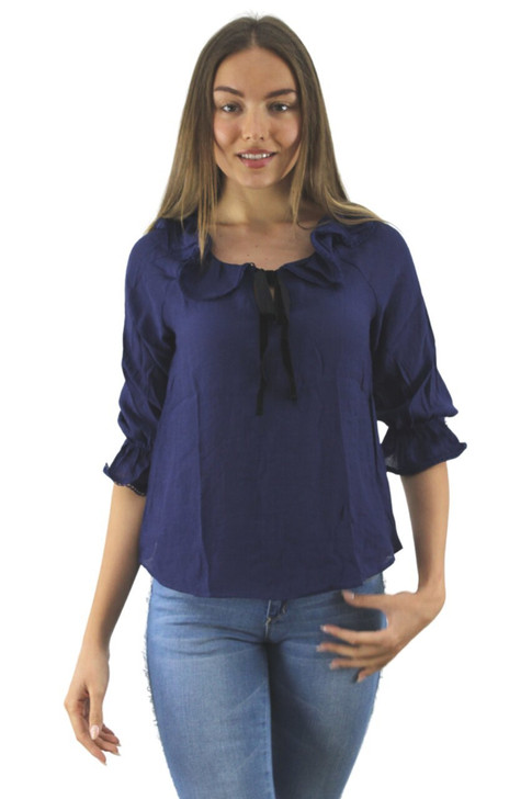Blue Ruffled Blouse with Tie 6pcs
