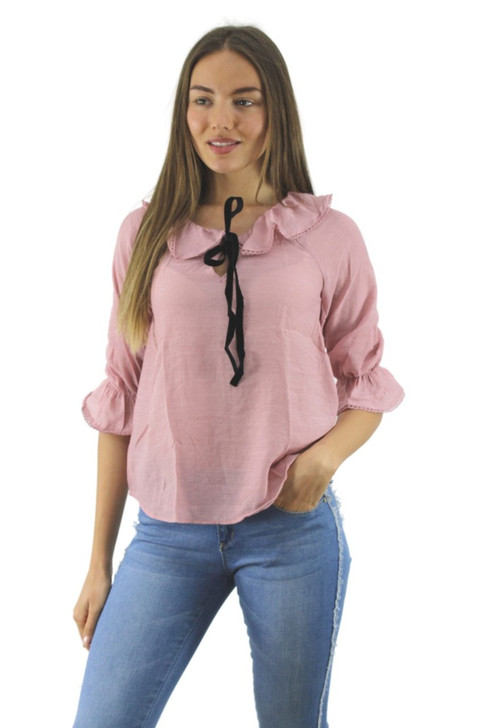 Pink Ruffled Blouse with Tie 6pcs