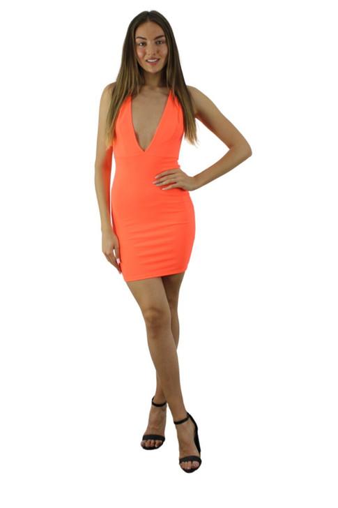 Neon Orange Open Front Mini Dress 6pcs