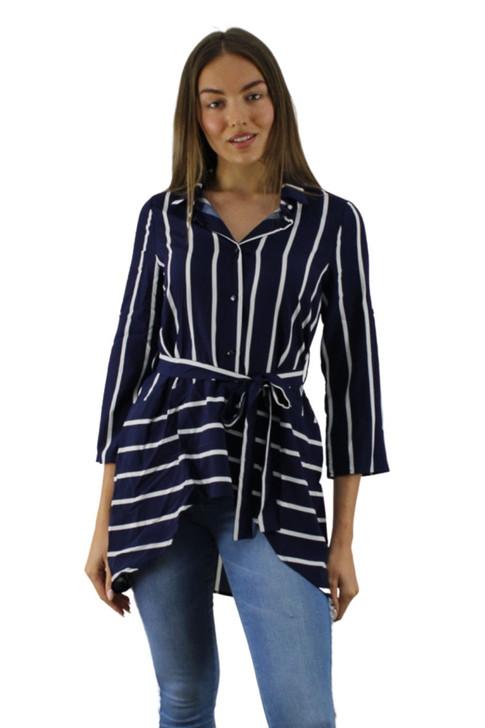 Blue Stripped Long Back Collar Blouse 6pcs