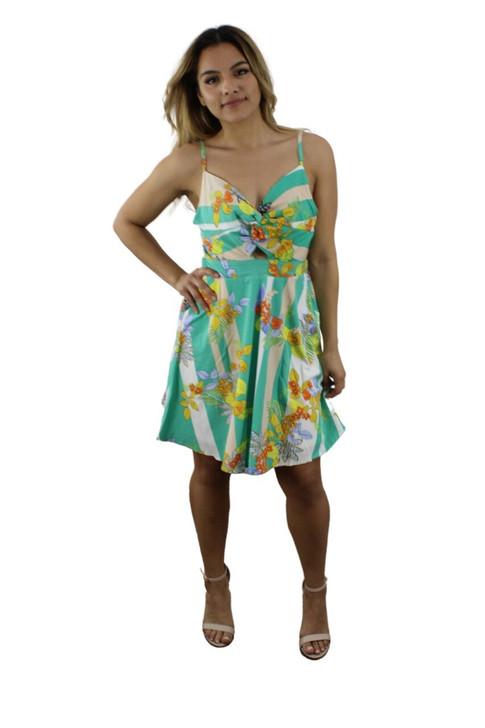 Mint Green Stripped Floral Dress 6pcs