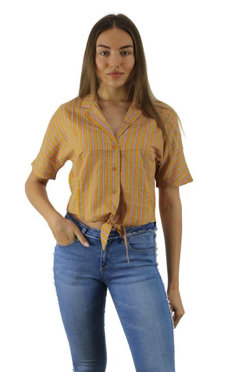 Orange Stripped Front Tie Shirt 6pcs