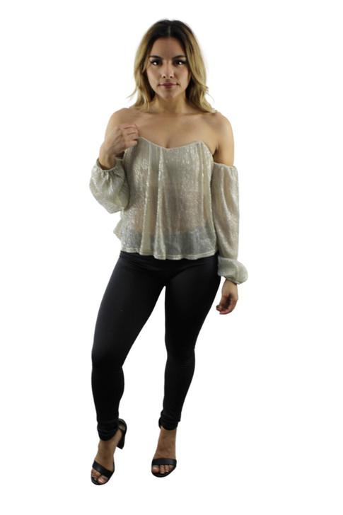 Open Shoulder Long Sleeve Blouse 5pcs