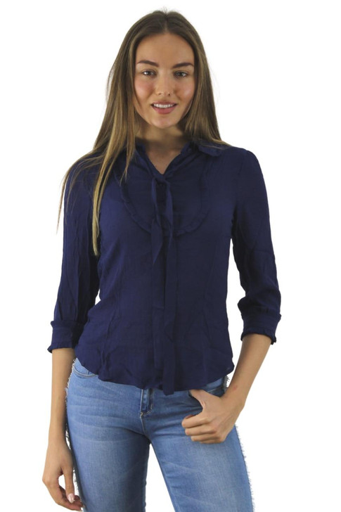 Blue Collar Blouse with Neck Tie 6pcs