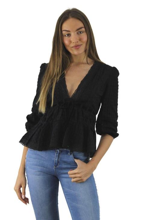 Black Lace Blouse with Velvet Waist Tie 6pcs