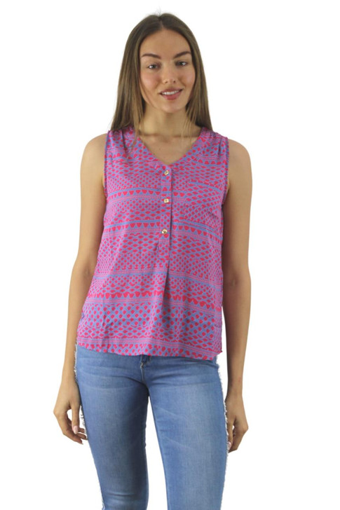 Pink Detail Printed Tank Top with Gold Buttons 6pcs