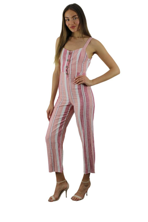 Pink Stripped Front Button Jumpsuit 7pcs
