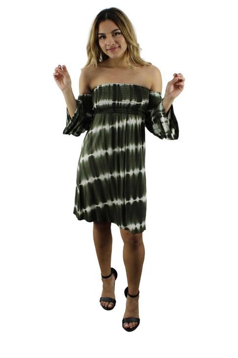 Olive Green Off Shoulder Dress 6pcs