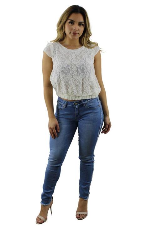 White Lace Short Sleeve Top 6pcs