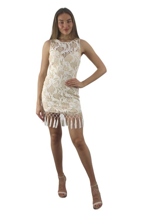 Beige Sleeveless Mini Lace Dress 6pcs