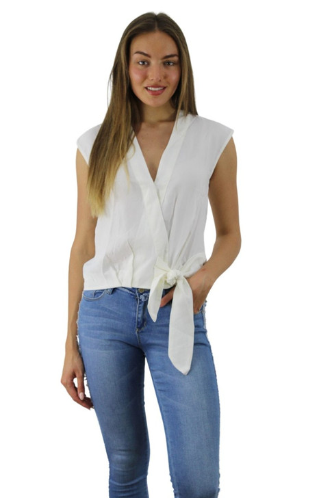 White V-neck Front Tie Blouse 6pcs