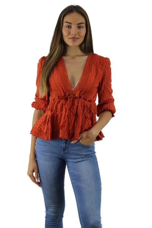 Orange Lace Blouse with Velvet Waist Tie 6pcs