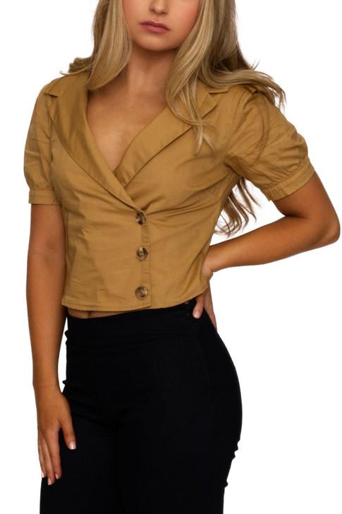 Wholesale Khaki Wrap Buttons Notched Ringer Sleeve Shirt (Front)